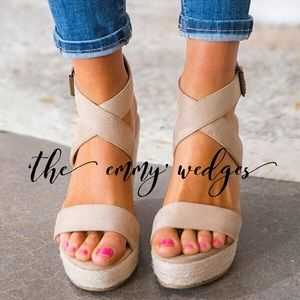 'The Emmy' Suede Wedges In Iced Latte